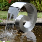 Giant Ammonite Stainless Steel Cascading Water Feature (Curly Swirly) – 65cm