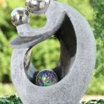 Granite Effect Lady and Child Water Feature with Crystal Sphere and LED Lights
